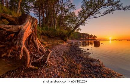 Baltic sea. The Gulf of Finland. Estonia. Seascape. Sunset.