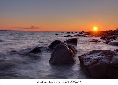 Baltic sea. The Gulf of Finland. Estonian seascape. Sunset.