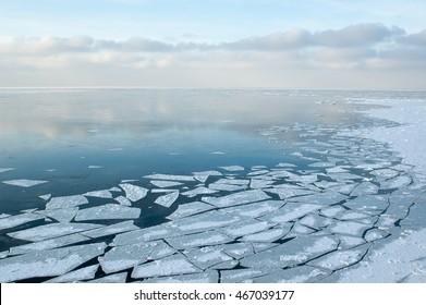 Baltic Sea on wintertime with broken ice cracks