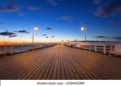 Baltic sea pier in Sopot at sunrise, Poland