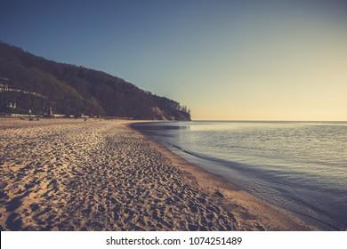 Baltic sea scenery at sunrise, Poland