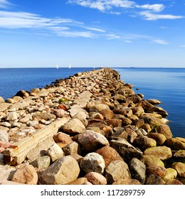 Baltic sea shore near the port of Riga, Latvia