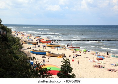 Baltic sea at summer day. Niechorze, Poland, Europe