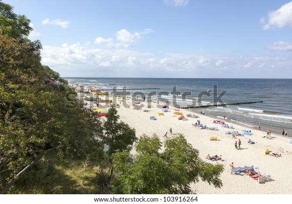 Baltic sea at summer day. Niechorze, Poland, Europe