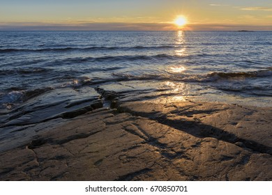 Baltic sea summer scenery in sunset time