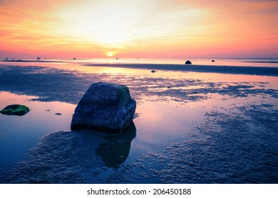 Baltic sea sunset at the Gollwitz beach on the island Poel, Wismar, Germany.