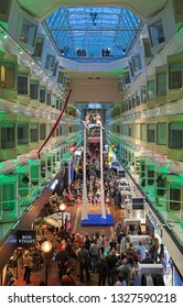 BALTIC SEA, SWEDEN - APRIL 3, 2016: Aerialist show at the centerline promenade of the cruiseferry MS Silja Symphony of Tallink shipping company during the cruise from Stockholm to Helsinki.