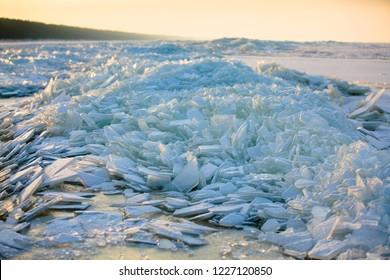 Baltic sea winter landscape on beautiful winter day, Latvia, Jurmala