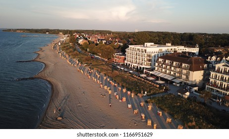 BALTIC SEA,TIMMENDORF,GERMANY -JULY 13, 2018: Beach with beach coats of Niendorf, Timmendorfer Strand, Luebeck Bay, Baltic Sea, Schleswig-Holstein, Germany