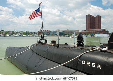 BALTIMORE  - CIRCA JULY 2009: USS Torsk Submarine in Baltimore Inner Harbor circa July 2009 in Baltimore Maryland, USA. USS Torsk is one of two Tench Class Submarine still located inside the US.