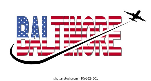 Baltimore flag text with plane silhouette and swoosh illustration