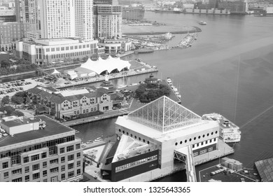 Baltimore. Harbor aerial view. Black and white vintage style.