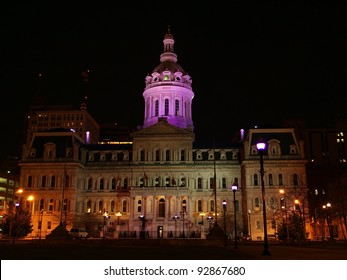 BALTIMORE - JAN. 15: Baltimore's City Hall has a purple glow amid purple flood lights and gels in honor of the Ravens football team playing in the NFL playoffs on January 15, 2012 in Baltimore, MD