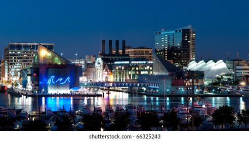 Baltimore Maryland Cityscape at Night:  A view of Baltimore, Maryland�s cityscape overlooking the Inner Harbor and Patapsco River at night.