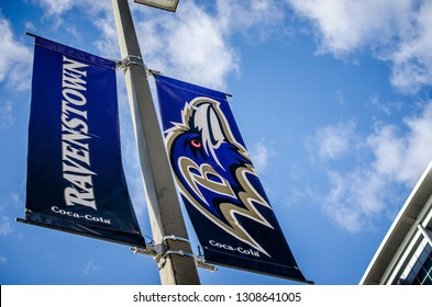 Baltimore, Maryland - December 1, 2018: Signs advertising the Baltimore Ravens football team in downtown Baltimore Maryland