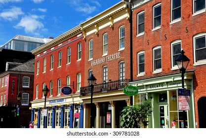 Baltimore, Maryland - July 22, 2013: The Vagabond Theatre along with specialty shops, pubs, and restaurants housed in 18th and 19th century buildings at historic Fells Point