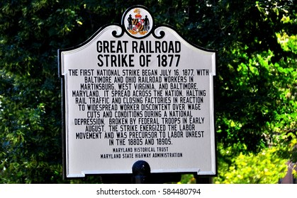 Baltimore, Maryland - July 23, 2013:   Great Railroad Strike of 1877 historic marker  *