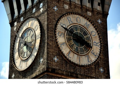 Baltimore, Maryland - July 23, 2013:  Clockfaces of the 1911 Bromo-Seltzer Arts Tower on Lombard Street