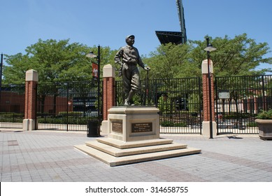 Baltimore, Maryland - July 5, 2010 - Statue of baseball legend Babe Ruth outside of Camden Yards, home of the Baltimore Orioles, in Baltimore, Maryland.