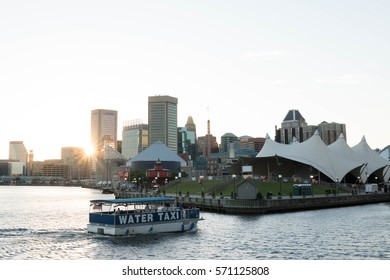 BALTIMORE, MARYLAND - JUNE 12, 2016: Water Taxi Approaching Pier Six in Baltimore Inner Harbor