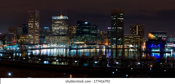 Baltimore Maryland at Night Time, United States of America
