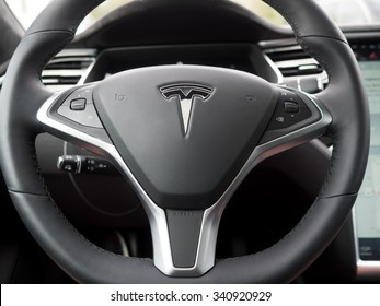 Baltimore, Maryland - November 2015: Steering Wheel of a Tesla Model S, with black interior taken from the driver's seat perspective.