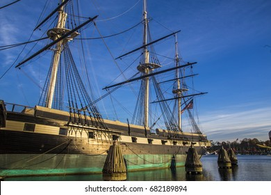 BALTIMORE, MARYLAND - NOVEMBER 22, 2016: The ship Constellation docked at the Inner Harbor in Baltimore, Maryland, USA.