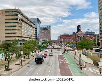 Baltimore, Maryland - Sept. 26, 2019: Overhead view of Pratt Street in downtown Baltimore near the Inner Harbor