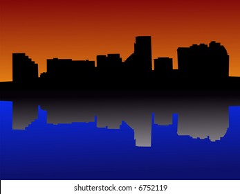 Baltimore Maryland skyline against colourful sky at sunset JPG