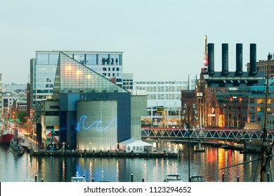 Baltimore, Maryland, United States - April 24, 2011: National Aquarium and Power Plant at Inner Harbor.