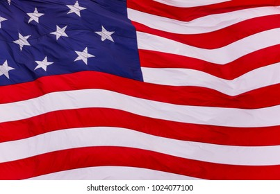 BALTIMORE, MARYLAND, USA - MAY 19, 2008: 15-star and 15-stripe United States flag flying over Federal Hill. The Star Spangled Banner.