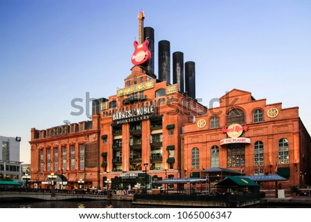 Baltimore, Maryland, USA - November 7, 2011; Hard Rock Cafe during sunset