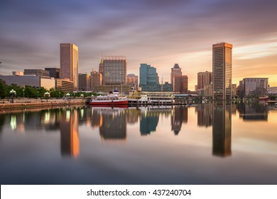 Baltimore, Maryland, USA skyline at the Inner Harbor.