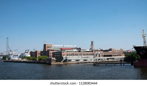 Baltimore, Maryland/USA - May 24, 2018: Under Armour Clothing Global Headquarters Patapsco River Inner Harbor Waterfront Campus