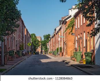 Baltimore, Maryland/USA - May 24, 2018: Brick Row Houses in Federal Hill Neighborhood