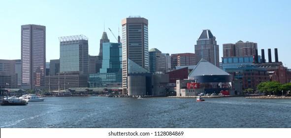 Baltimore, Maryland/USA - May 24, 2018: Patapsco River Inner Harbor Panoramic View of Inner Harbour Waterfront