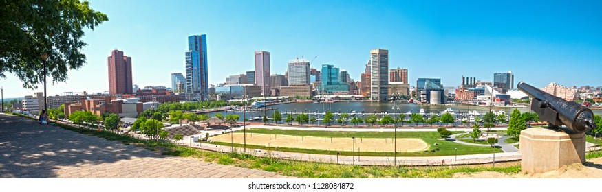 Baltimore, Maryland/USA - May 24, 2018: Patapsco River Inner Harbor Panoramic View From Federal Hill Park
