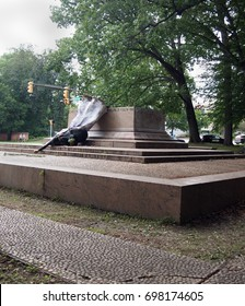 BALTIMORE, MD - AUGUST 17, 2017: The sculpture that a local artist erected at the site of one of Baltimore's recently removed confederate monuments has possibly been vandalized this afternoon.