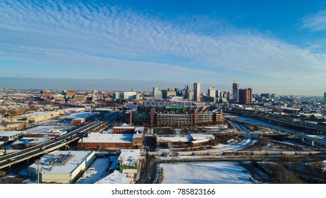 Baltimore, MD - December 16, 2017: A dusting of snow blankets Baltimore and the M&T Bank Stadium.