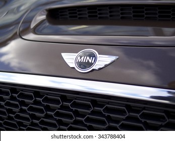 Baltimore, MD - December 22, 2012: Close Up of Mini Cooper Logo and Front Grill