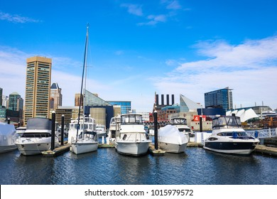 Baltimore, MD - January 26, 2018: A view of the Inner Harbor, one of the city's primary tourist attractions, on a sunny afternoon from Federal Hill Park.