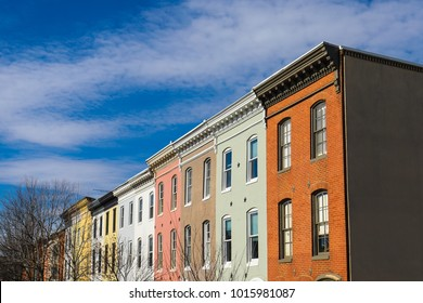 Baltimore, MD - January 26, 2018: A view of colorful row houses near Federal Hill Park along the Inner Harbor.