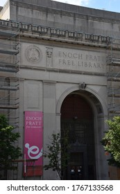 BALTIMORE, MD - JUL 2: Enoch Pratt Free Library in Baltimore, Maryland, as seen on July 2, 2017.