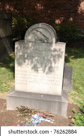 BALTIMORE, MD - JULY 2: The original grave of poet Edgar Allan Poe is shown at Old Westminster Burial Ground on July 2, 2007 in Baltimore, MD.