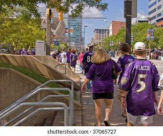 BALTIMORE, MD - SEPTEMBER 13: -  Fans are many in Baltimore as the Ravens dominated The Chiefs 38 to 24. The event took place Sept 13, 2009 in Baltimore MD.