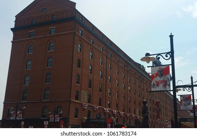 Baltimore, MD / U.S.A.  -  3/29/2018:   View of Camden Yards building, near entrance to Oriole Park, on Opening Day for the Baltimore Orioles.