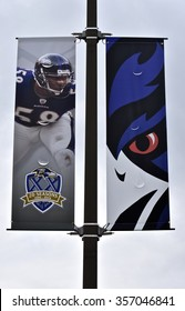 BALTIMORE, MD, USA - JANUARY 1, 2016: Baltimore Ravens flag on a post in Baltimore, MD. The Baltimore Ravens are an American professional football team located in Baltimore, MD.