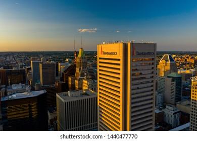 BALTIMORE, MD, USA - JUNE 22, 2019: Transamerica Tower Downtown Baltimore MD at sunset