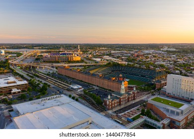BALTIMORE, MD, USA - JUNE 22, 2019: Aerial photo Oriole Park and M&T Bank Stadium