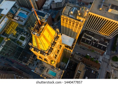 BALTIMORE, MD, USA - JUNE 22, 2019: Aerial photo 10 Light Street Tower rental apartments Baltimore MD
